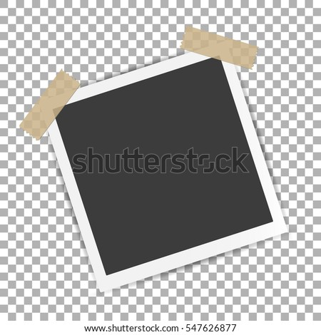 Photo Frame with shadow on Adhesive Sticky Tape Scotch, on isolate background, vector template for your stylish photos or images, EPS10 #547626877