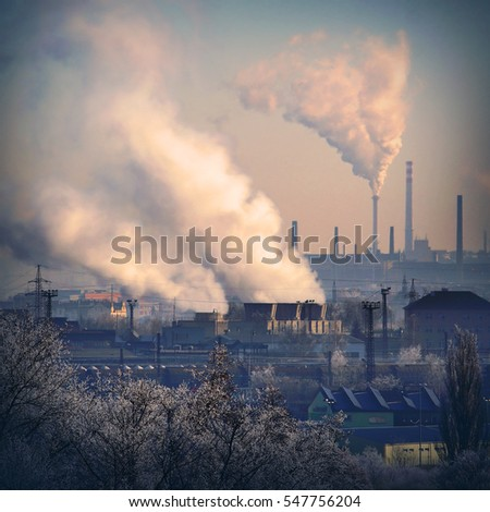 Smoking stack from lignite power plant. Digital artwork on air pollution and climate change theme.  #547756204
