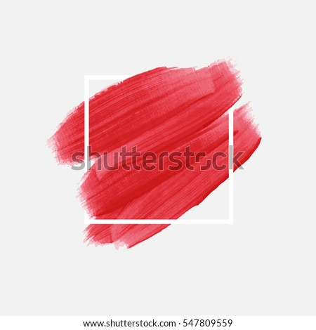 Logo brush painted watercolor background. Art abstract brush paint texture design acrylic stroke over square frame vector illustration. Perfect design for headline and sale banner.  #547809559