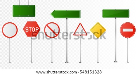 Set of road signs isolated on transparent background. Vector illustration. Royalty-Free Stock Photo #548151328