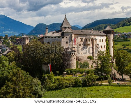 Amazing medieval castle of Presule in Dolomites mountains, Northern Italy #548155192