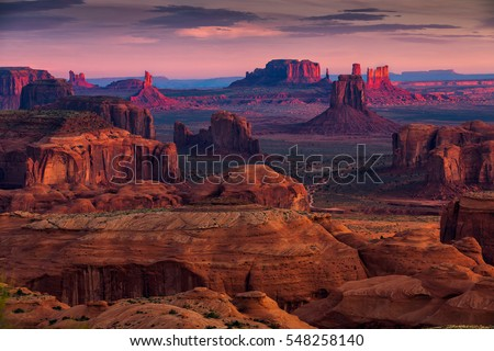 Sunrise in Hunts Mesa navajo tribal majesty place near Monument Valley, Arizona, USA #548258140