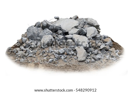 Concrete rubble isolated on white background. Royalty-Free Stock Photo #548290912