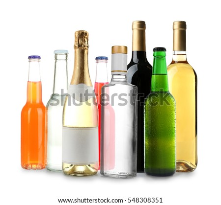 Bottles with different drinks on white background #548308351