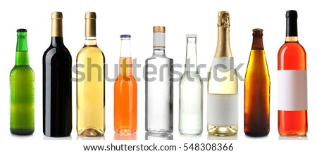 Bottles with different drinks on white background #548308366