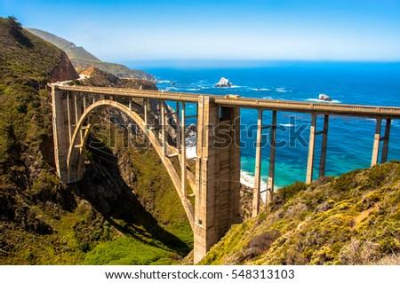 Bixby Bridge in Big Sur, California Royalty-Free Stock Photo #548313103