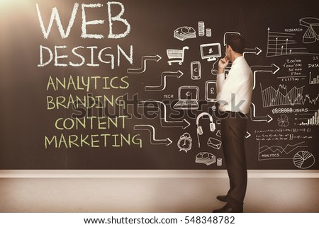 Businessman standing in front of a chalkboard with web design terms written on it 3d