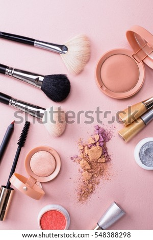 Set of decorative cosmetics on color background #548388298
