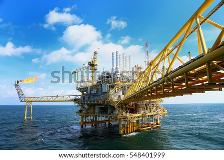 Offshore construction platform for production oil and gas. Oil and gas industry and hard work. Production platform and operation process by manual and auto function from control room. #548401999