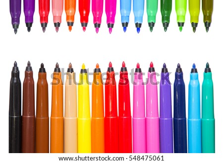 Set of multicolor felt-tip pens, markers isolated on white background; colorful felt pens  #548475061