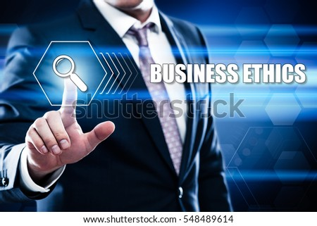 Technology, internet concept on hexagons and transparent honeycomb background. Businessman pressing  business ethics on virtual screen #548489614