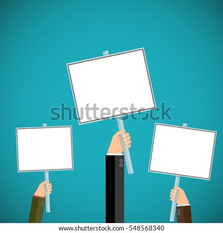 People hold signs in their hands. Pickets and demonstrations. Stock illustration.