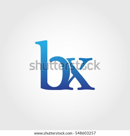 Lowercase bx Logotype. Blue Letter Logo. Letter Abbreviations. Vector Template Element. #548603257
