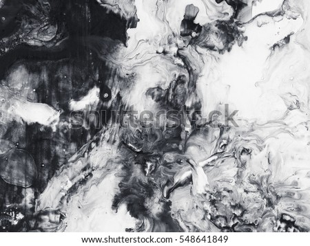 Abstract hand painted black and white background, acrylic painting on canvas, wallpaper, texture Royalty-Free Stock Photo #548641849