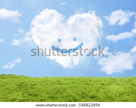 heart cloud field smile