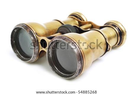 Vintage binoculars on white background #54885268