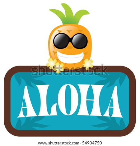 JPEG Hawaiian Pineapple w/ Aloha sign isolated