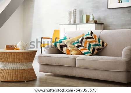Modern living room with sofa and furniture #549055573