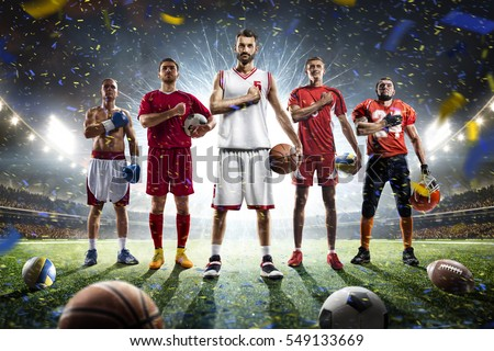 Multi sports proud players collage on grand arena #549133669
