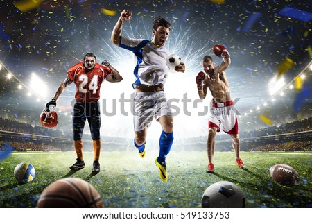 Multi sports happy players collage on grand arena #549133753