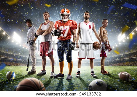 Multi sports proud players collage on grand arena Royalty-Free Stock Photo #549133762