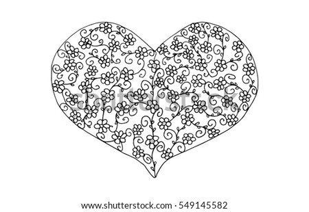valentines heart black and white illustration, filled with flower pattern. Design for crayoning #549145582