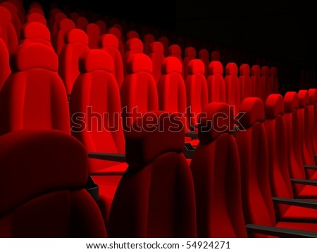 Movie Theater Seats. 3d rendered image #54924271