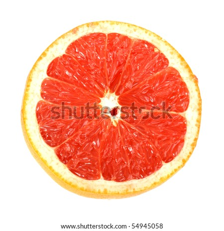 Single cross section of grapefruit. Isolated on white background. Close-up. Studio photography. #54945058