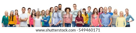 diversity, race, ethnicity and people concept - international group of happy smiling men and women over white #549460171