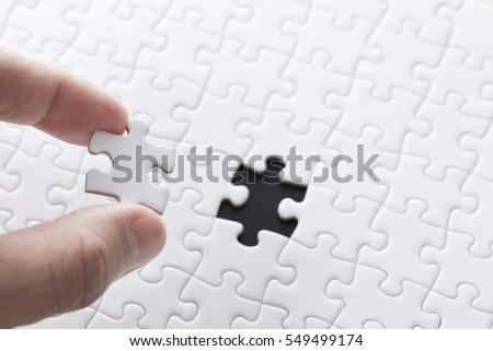 White jigsaw puzzle Royalty-Free Stock Photo #549499174