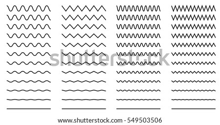 Set of wavy - curvy and zigzag - criss cross horizontal lines Royalty-Free Stock Photo #549503506