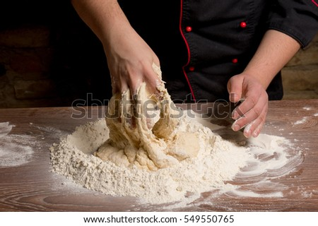 Chef cooking handmade pasta with Italian ingredients #549550765