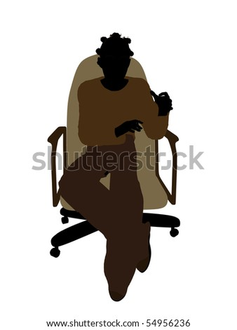 African American female teenager sitting in a chair silhouette on a white background #54956236