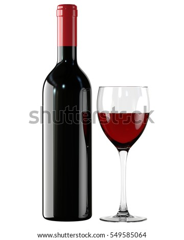 Red Wine, liquor bottle and glass, wineglass. 3D render, isolated on white background.