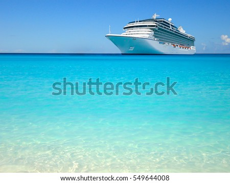Luxury cruise ship in the Caribbean. Royalty-Free Stock Photo #549644008