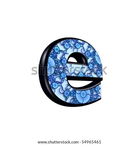 3d letter with decorative blue texture - e #54965461