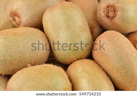 Green kiwi fruit (Actinidia deliciosa), close up shot #549754210