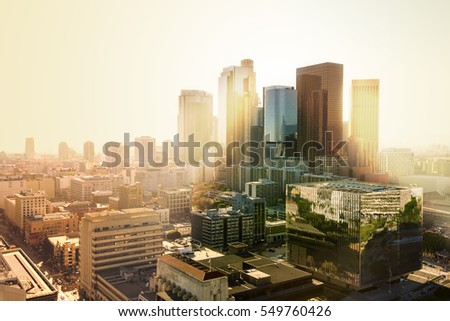 Los Angeles, California, USA downtown cityscape at sunset