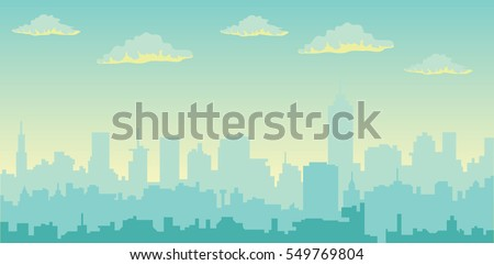 Morning  sky and clouds over city silhouette  vector cityscape illustration Royalty-Free Stock Photo #549769804