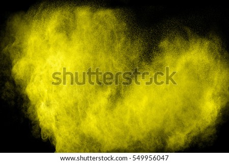 Heart shaped colored powder  on black  background. #549956047