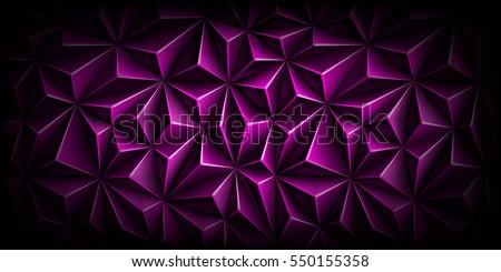 Volumetric polygonal dark magenta pattern. Vector luxury abstract purple background. Modern horizontal violet dynamic fond. Triangle