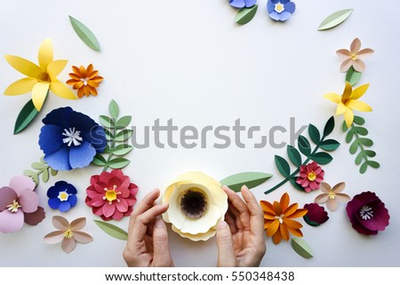 Flower floral paper cut outs decoration
