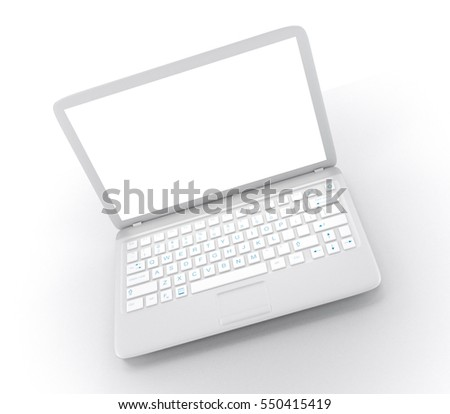 Modern Laptop PC with blank LCD screen isolated on white background (3D rendering) #550415419