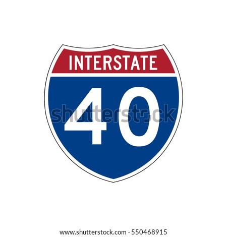 Interstate highway 40 road sign