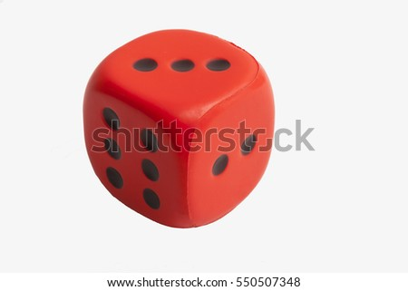 Color dice isolated on white background #550507348