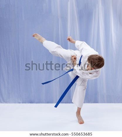 On a light background athlete beats kicking #550653685