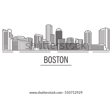 City landscape Boston Massachusetts drawn with lines.Down town American  skyscrapers and high-rise buildings in hand drawn flat style a vector.View of Boston from the river.USA skyline and landmark