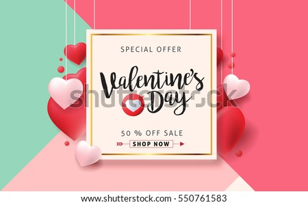 Valentines day sale background with Heart Shaped Balloons. Vector illustration.Wallpaper.flyers, invitation, posters, brochure, banners. Royalty-Free Stock Photo #550761583