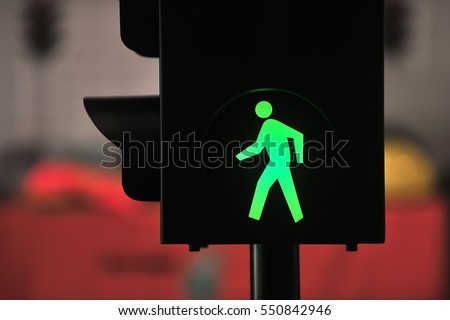 traffic light with green light and safe to move ( Pedestrian Traffic Lights  ) #550842946