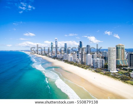 An aerial view of Surfers Paradise on the Gold Coast, Australia Royalty-Free Stock Photo #550879138